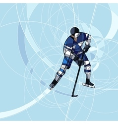 Ice hockey player in blue and white dress vector