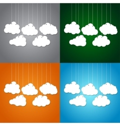 White clouds on a thread on background Set vector image