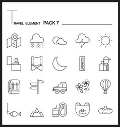 Travel element line icon set 7camping vector