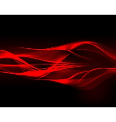 Abstract red waves on the dark background vector image vector image