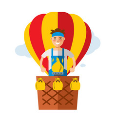 air balloon travel flat style colorful vector image vector image