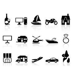 black property icons set vector image vector image