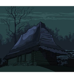 cartoon grim spooky old house in the night vector image vector image