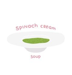 cartoon hand drawn spinach cream soup vector image vector image
