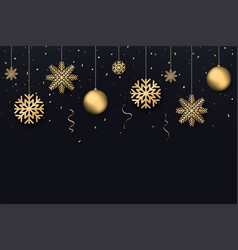 christmas and new year background golden vector image