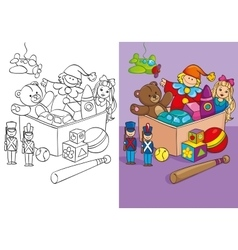 Coloring book of box with different toys vector