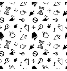 Computer arrow cursors on white seamless pattern vector image vector image