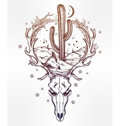 Desert landscape in deer skull with cactus moon vector image