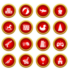 Different kids toys icon red circle set vector