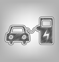 Electric car battery charging sign pencil vector