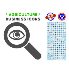 Eye explore icon with agriculture set vector