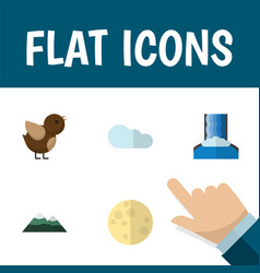 Flat icon ecology set of bird lunar peak and vector