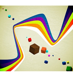 Flying cubes and ribbons vector image