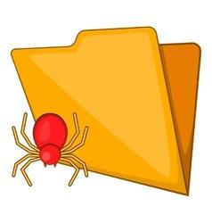 Folder with a bug icon cartoon style vector image