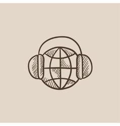 Globe in headphones sketch icon vector image