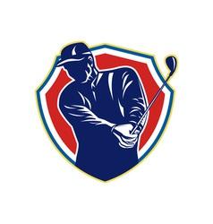 Golfer swing club playing golf retro vector