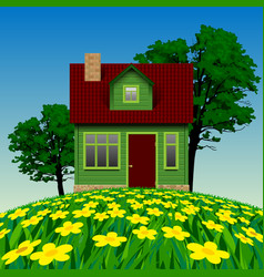 Green realistic house in the summer landscape vector