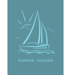 Hand drawn background with sailboat eps8 vector