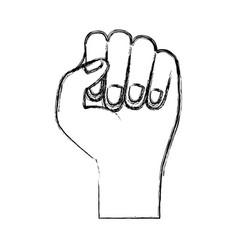 hand fist icon monochrome blurred silhouette vector image