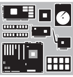 Internal desktop computer components black vector