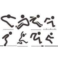 long jump icons vector image vector image