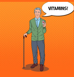 Pop art senior man with vitamins health care vector