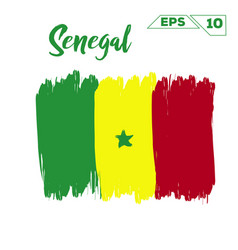 Senegal flag brush strokes painted vector