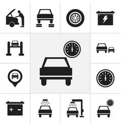Set of 12 editable car icons includes symbols vector