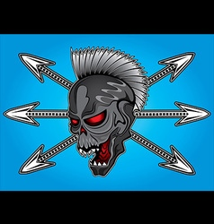 Smiling skull arrow punk design vector
