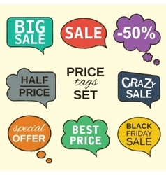 Speech bubbles collection set with price tags vector