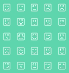 Square face line icons on green background vector