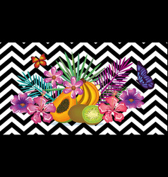 tropical flower and fruits with abstract vector image