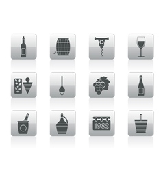 wine icons vector image vector image