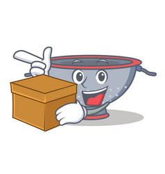 With box colander utensil character cartoon vector