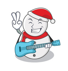 With guitar snowman character cartoon style vector