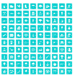 100 tree icons set grunge blue vector