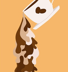 Coffee flowing liquid vector