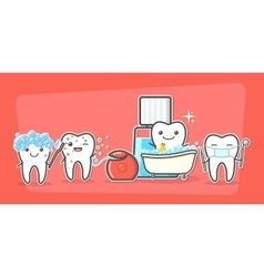 Cartoon teeth care and hygiene concept vector image