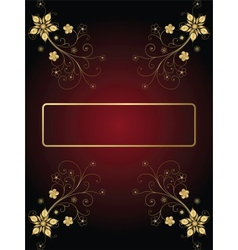 Gold Frame On A Dark Background With Flowers vector image