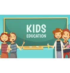 Kids primary education cartoon poster vector