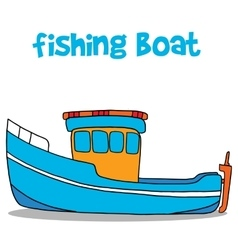 Fishing boat cartoon art vector