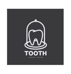 Dental care logo template with tooth under bell vector