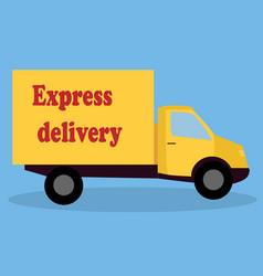 A cartoon representing a delivery car vector