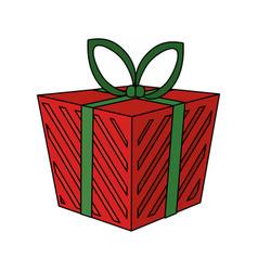 Color image cartoon christmas giftbox with vector