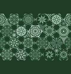 Retro green different seamless patterns tiling vector