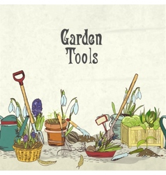 Hand drawn gardening tools album cover vector