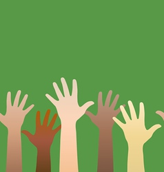 Hands raised up concept of volunteerism vector