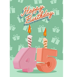Happy birthday age 45 announcement and celebration vector