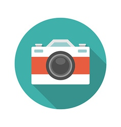 Flat photographer professional retro photo camera vector