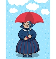 Lady under the rain vector